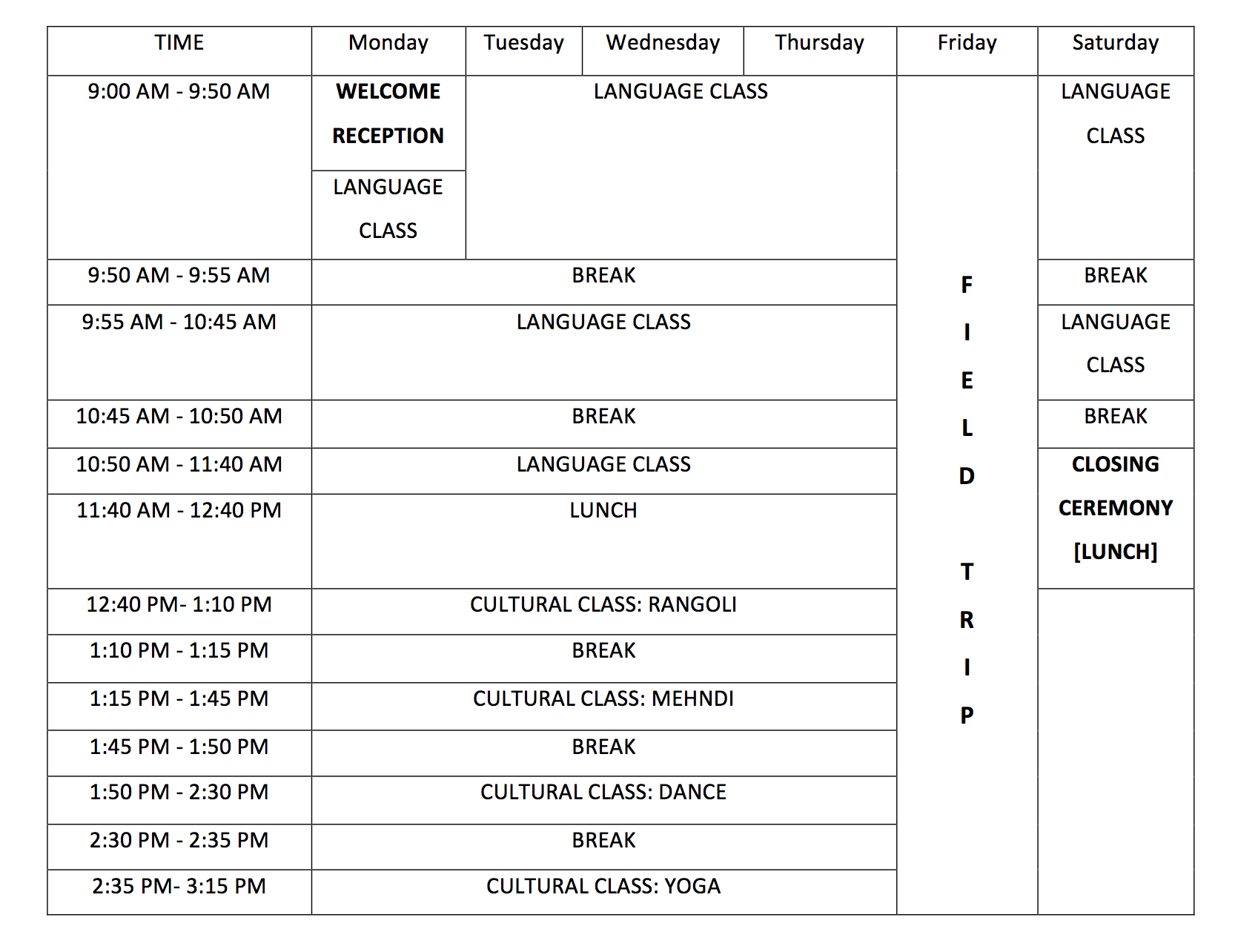 Siphu Daily Schedule